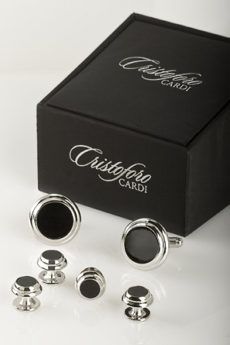 Double Circle Cufflinks (Cufflinks and Studs - Double Circle Edge in Silver Trim)