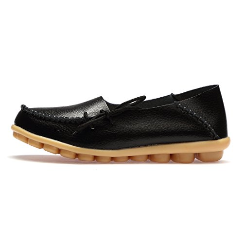 Moccasins on Boat 002 Foam Leather Insole Flat with BTDREAM Memory black Loafers Driving Women's Slip Casual Shoes zqTtwXH