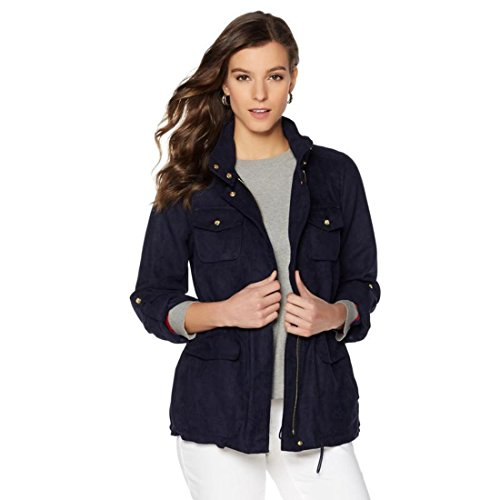 Vince Camuto Woven Microsuede ZipFront LongSlv Utility Jacket Navy L New 521-329