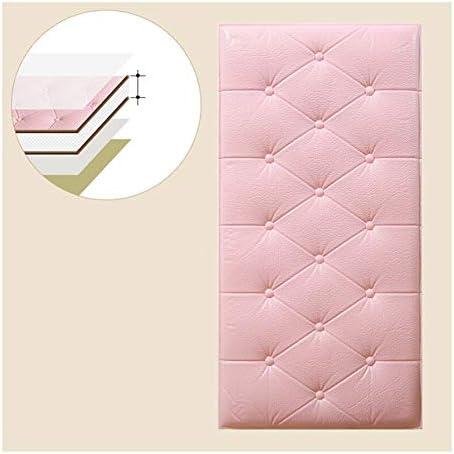 壁紙 レンガ 防音シート 防水 壁紙 断熱 DIYクッション シール シート立体 壁用 壁紙 はがせ PUレザーアンチコリジョンステッカーソフトパックウォールボード3D三次元の壁のステッカーの自己接着剤ウォールステッカーウォールクッションベッドサイド装飾壁紙壁紙60x30cm (Color : Pink)