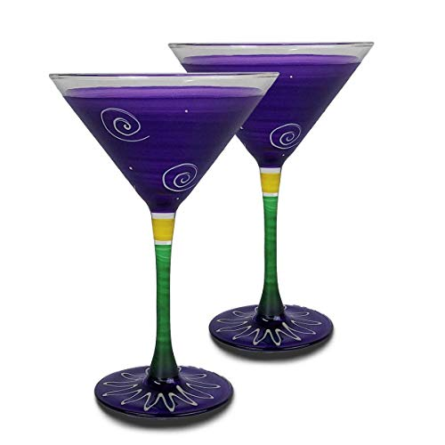 Golden Hill Studio Martini Glasses Hand Painted in the USA by American Artists-Set of 2-Frosted Curl Dot Purple Collection ()
