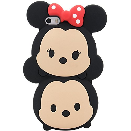 iPhone SE Case, MC Fashion Cute 3D American Cartoon Minnie Mouse and Mickey Mouse Silicone Phone Case for iPhone 5/5S/SE (Minnie and Mickey)