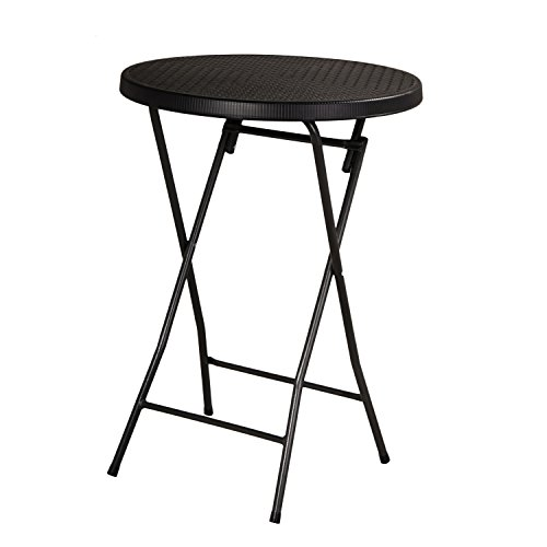 Adeco 1-Piece Folding Bistro-Style Patio Table Black