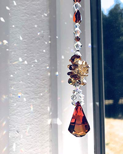Swarovski Crystal Sun Catcher, Window Decoration, Rear View Mirror, Red Orange Mobile, Aurora Borealis, Garden Decor, Ornament, Prism, 9025 -