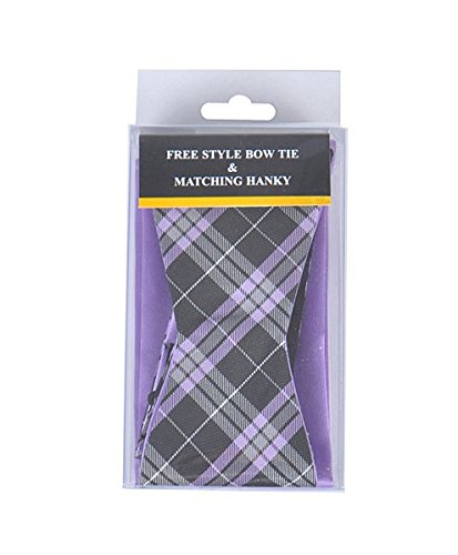 - Purple/Black stripe Free Style Bow Tie & Matching Hanky