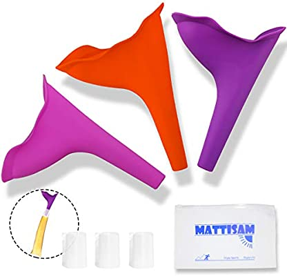 Discreet Reusable Urinal Funnel Leakproof Ideal for Camping Disposable Urine Bags MattiSam Portable Female Urination Device Outdoor Pregnant Women Free Carrying Case Lets You Pee Standing Up