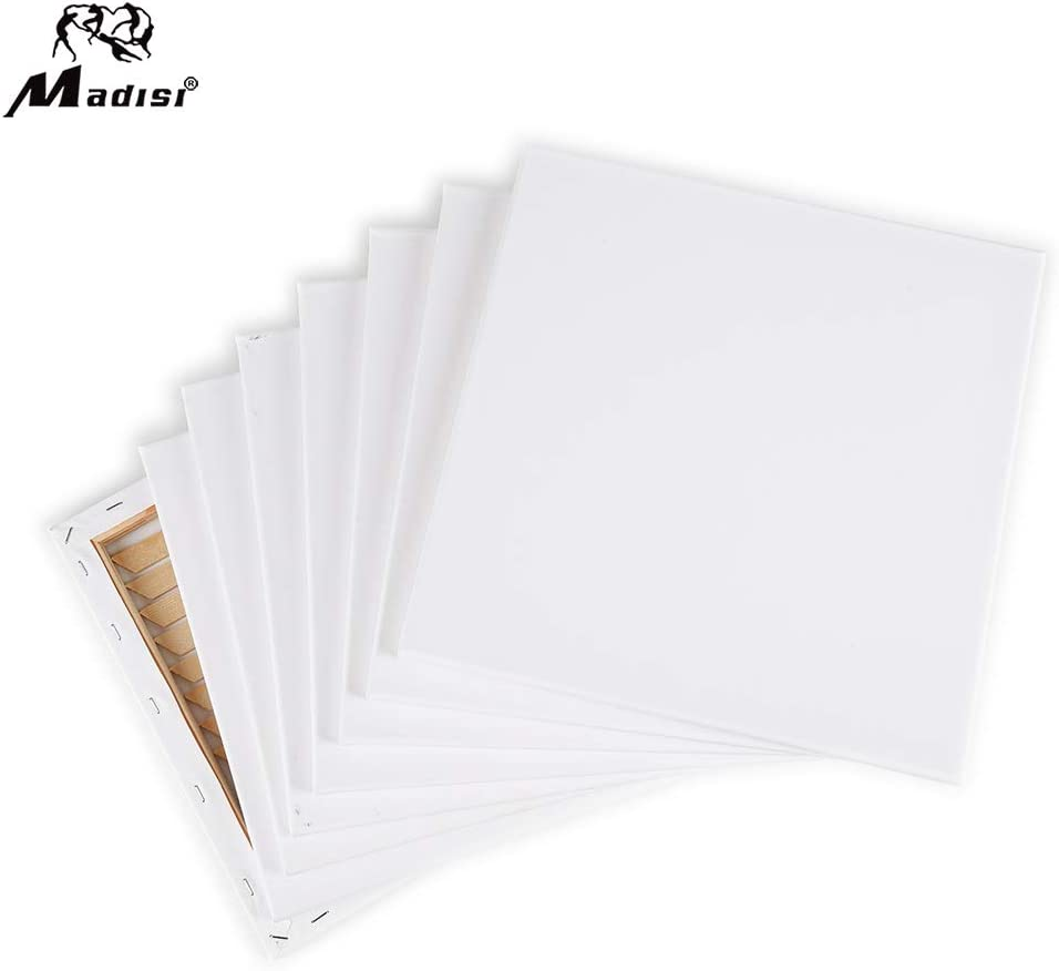 12x12 Madisi Pre Stretched Canvas for Painting 8 Pack