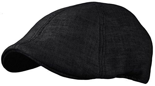 Men's Linen Blend Cotton newsboy Cap, Cool duckbill Pub Hat, Golf IVY Cap (Black, Large/X-Large) (Black Cap Pub)