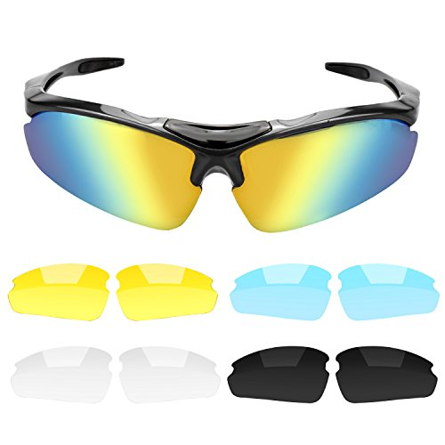 B.LeekS Cool Fashion Sports Style Polarized Sunglasses, UV400 Protection Safety Glasses, Unbreakable Frame, Cycling Fishing Baseball Running Sun glasses - Scratch Sunglasses Polarized Proof