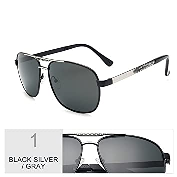 5a14c60a1f TIANLIANG04 Los Hombres Gafas De Sol Aviador Gafas Polarizadas Clásica Guía  Cuadrado Negro,Gris Plata: Amazon.es: Deportes y aire libre