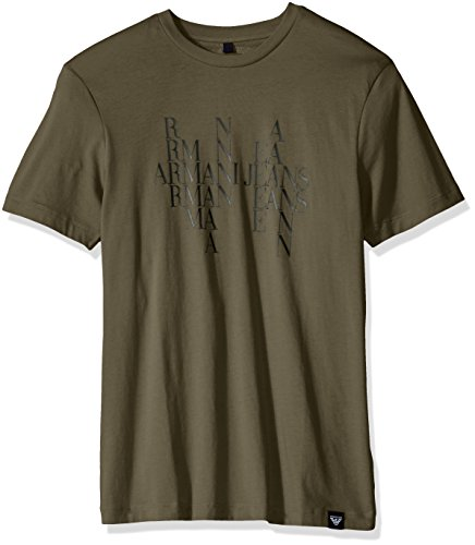 ARMANI JEANS Men's Plus Size Block Letter Eagle Design Cotton T-Shirt, Ligth Green, Medium (T-shirts Armani Mens Green)