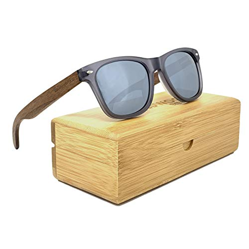 Wildwood Wooden Sunglasses for Men and Women with Polarized Lenses | Classic Style Frame (Gunmetal (Acetate Frames with Wooden Case, Silver Mirror)
