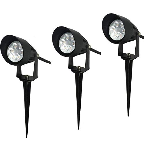Makergroup IP67 Outdoor Landscape LED Lighting 12VAC/DC 7W Warm White Light Color 2700-3000K Low Voltage Lighting Garden Yard Path Lighting Spotlights Uplighting (3-Pack)