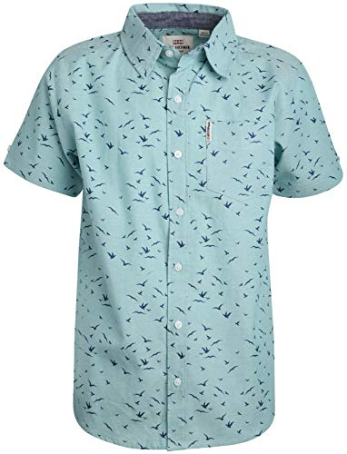 Ben Sherman Boys Short Sleeve Button Down Shirt, Teal Birds, Size 8'