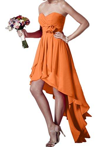 forma cuore Chiffon Prom Donna Orange Hi Party sera abito Lo ivyd abito Festa fiori vestito ressing FxpIq0X