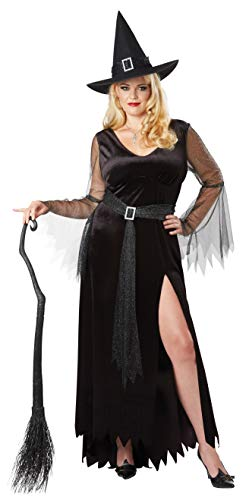 California Costumes Women's Size Rich Witch Adult Woman Plus Costume, Black/Silver, 3X Large]()