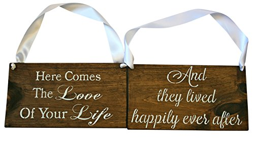 Cleo Bridal REVERSIBLE Here comes the love your Life Sign DOUBLE SIDED They Lived Happily Ever After Rustic Wedding Wood Sign Wooden Signs (Dark Walnut/White Ribbon)