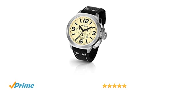 Amazon.com: TW Steel Mens TW3 Canteen Black Leather Chronograph Dial Watch: Watches