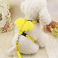 FidgetGear Trendy Cute Pet Dog Cat Leashes Collars Set Puppy Leads Angel Wing Harness Yellow S