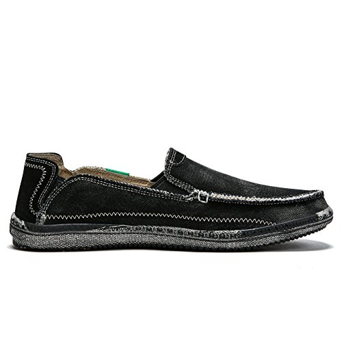 Loafer on Deck Flat Shoes Slip Sneakers Casual Black Outdoor Walking Men's Slip Canvas Boat Shoe Non Loafers PqHScw5