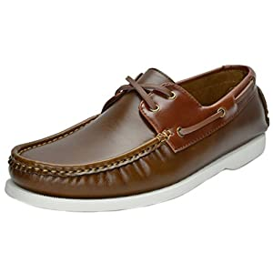 Bruno Marc Men's Bahama Tan Brown Loafers Boat Shoes - 9 M US