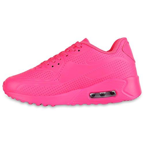 Stiefelparadies Herren Sportschuhe Laufschuhe Leder-Optik Materialmix Stoff Sneakers Sneaker Runners Profilsohle Trainers Flandell Pink