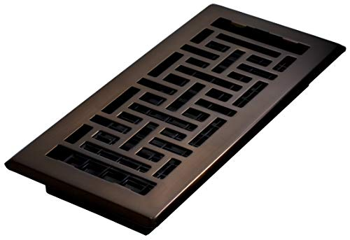 Decor Grates, Rubbed Bronze, AJH410-RB Oriental Floor Register, 4 10-Inch, 4 x 10 (3 1 4 X 10 Vent)