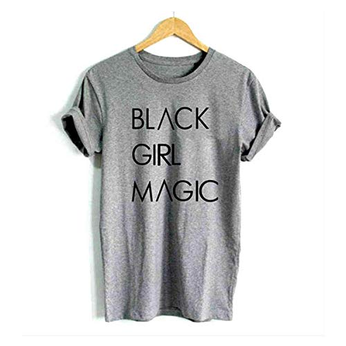 FCYOSO Black Girl Magic Women's Fashion Graphic Tees Shirt Medium Gray