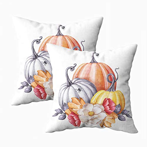 Capsceoll Throw Pillow Covers, 2PCS Watercolor Floral Pumpkins Halloween Clip Art Autumn Design Elements 18x18 Pillow Covers,Home Decoration Pillow Cases Zippered Covers Cushion for Sofa -