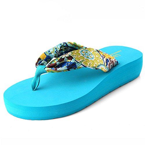 Angel love beauty Sandalias de cuña para Mujer Zapatillas Chancletas de Flip Flop Lady Chanclas (Color : Brown, Size : 36 2/3 EU) Blue