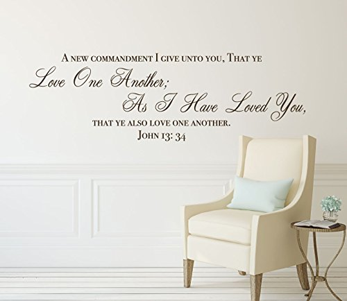 """Bible Verse Wall Decals - John 13:34 Scripture Quote -""""Love One Another"""" - Christian Vinyl Lettering Decor for Home, Office, Church"""