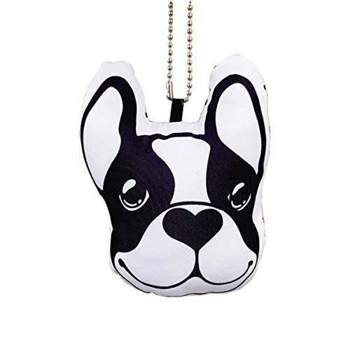 Frenchic French Bulldog Big Head Stuffed Hanging Accessory Black White Dot Car Interior Pendant Décor Ornament Key Holder Ring Handmade