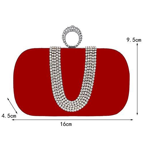 crystal main pour sac sac portefeuille mariage Femmes à reshione velours de cocktail sac embrayage partie rouge à luxe sac bal l'épaule soirée sac HHxOwY6qA