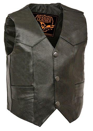 (Milwaukee Leather SH2011-BLK-XL Kids Plain Vest (Black, X-Large) )