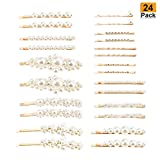 24 Pack Pearls Hair Pins for Women Girls Teens, Artificial Pearl Hair Clips Bobby Pins Alloy Hair Barrette Accessories for Wedding Bridal, Birthday, Party, Daily Headwear