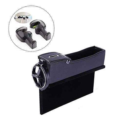 ocket, Coin Side Pocket, Car Seat Gap Filler Car Organizer with Cup Holder and 2-Pack Back Seat Headrest Hook(Driver's Seat, Black) ()