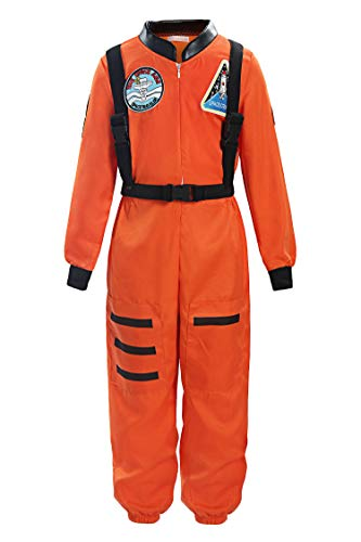 ReliBeauty Boys Girls Kids Children Astronaut Role Play Costume, Orange, 7 -