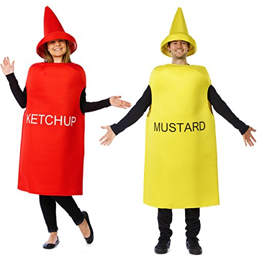 Tigerdoe Ketchup and Mustard Costume - Couples Costumes for Adults - Mascot Costume - Food Costumes -