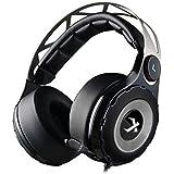 XIBERIA T18-D Auriculares gaming con sonido envolvente virtual que encima de las orejas y Micrófono retráctil para PC/PS4/XBOX (Negro)