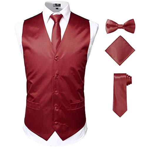 ZEROYAA Men's Solid 4pc Shiny Satin Vest Necktie Bowtie Pocket Square Set for Suit or Tuxedo ZLSV12 Burgundy Large