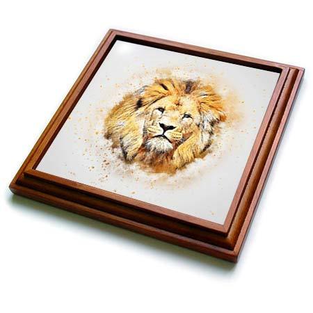 3dRose lens Art by Florene - Watercolor Art - Image of Portrait Painting Of Majestic Lion - 8x8 Trivet with 6x6 ceramic tile (trv_300361_1)