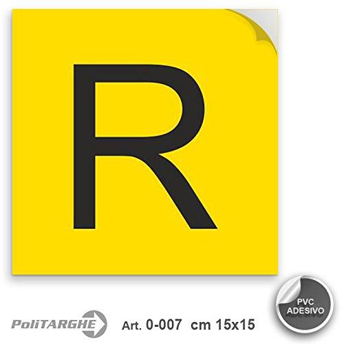 Cartello adesivo in PVC R rifiuti speciali cm 15x15