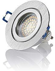 Sweet-led, 6-delige voordeelverpakking, IP44 aluminium, vochtige ruimtes, badkamer/inbouwlamp, aluminium, incl. GU10 LED, kliksluiting, spatwaterdicht, IP44 inbouwspot, inbouwspot