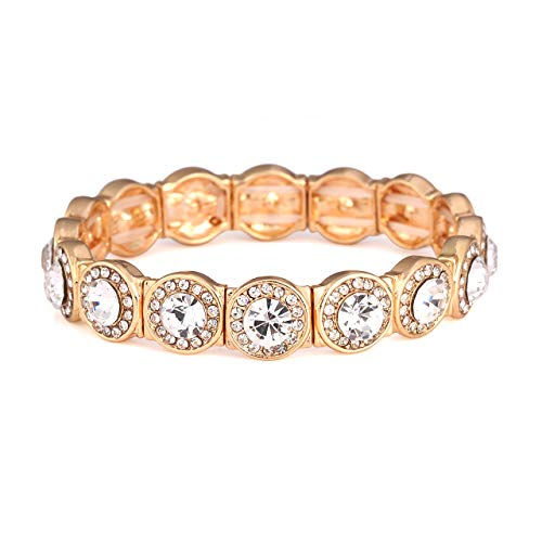 CENAPOG Multiple Rows Crystal Bracelet for Women Rhinestone Station Tennis Bracelet Adjustable Bangle Bracelet (Gold # Stretch)