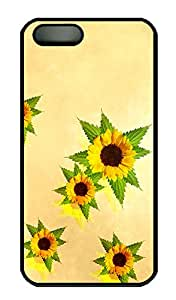 SUN VIGOR 5s Case Desktop Sunflowers Durable and Comfortable iPhone 5s Cases Personalized Hard Black Cases