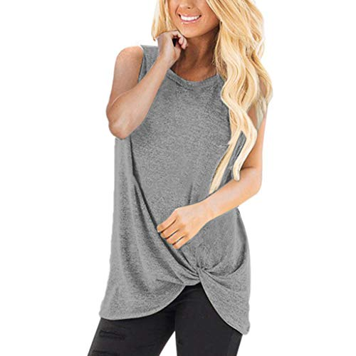 TWGONE Tunic Shirts For Women To Wear With Leggings Short Sleeve Loose Sleeveless O-Neck T-Shirt Blouse Tops(XX-Large,Gray)