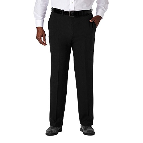 Haggar Men's Big & Tall Cool 18 PRO Classic Fit Flat Front Casual Pants - Black 52x32