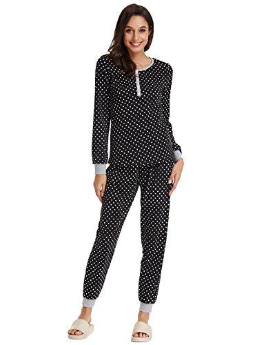 Women Long Sleeve Pajamas Polka Dots Crew Neck Tops with Bottoms Black L ZE205-1