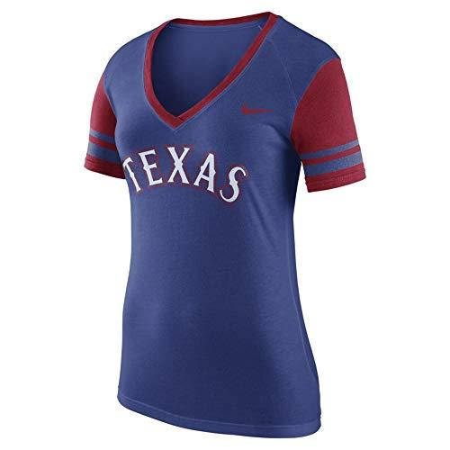 (B Tees Texas Women's Wordmark Colorblock V-Neck T-Shirt - Royal(X-Large))