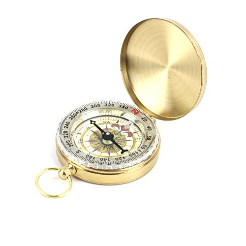 DETUCK(TM Pocket Compass Outdoor Antique Compasses Hiking Hunting Camping Survival Compass Metal Compass Tool (G-12) ()